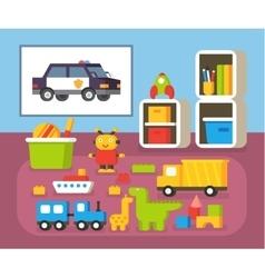 Boys room kindergarten nursery interioir flat vector