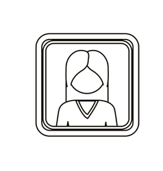 Monochrome contour square with half body woman vector