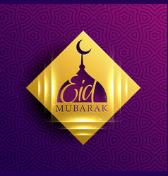 Bautiful eid mubarak card on golden diamond shape vector