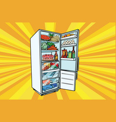 Home refrigerator filled with food vector