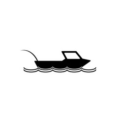 fishing boat icon silhouette vector image