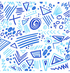 Abstract marker indigo color lines seamless vector