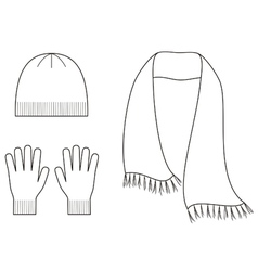 Cap gloves scarf vector