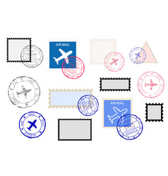 mail stamps collection and ink impress set vector image
