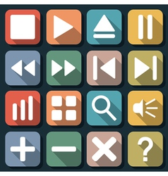 Player interface flat icons vector