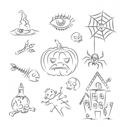 Halloween witch icons vector