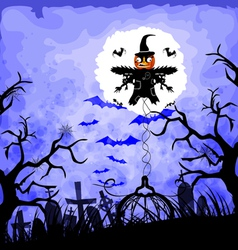 Halloween background with scarecrow vector