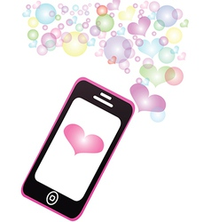 Smartphone sharing love pastel color message vector
