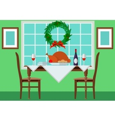 Festive table with turkey and vector