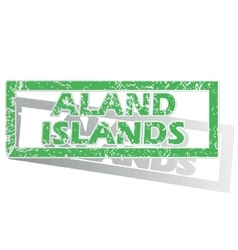 Green outlined aland islands stamp vector
