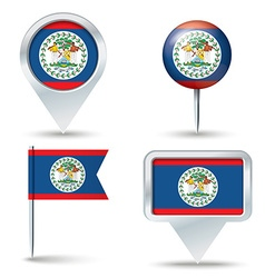 Map pins with flag of belize vector