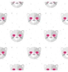 Flat cartoon cat in love seamless pattern vector