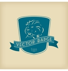 Lion badge with shield and ribbon vector
