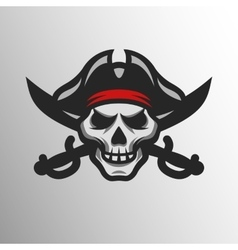 Pirate skull and swords vector
