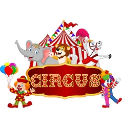 Cartoon animal circus and clown with carnival vector image
