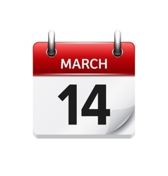 March 14 flat daily calendar icon date vector