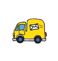 Simple of post car auto with mail symbol vector