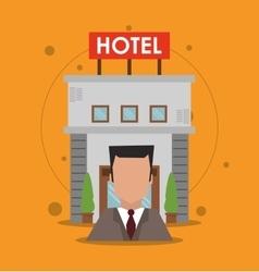 Building receptionist hotel service icon vector