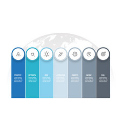 business infographics presentation with 7 columns vector image