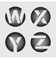 Capital letter W X Y Z of wide white stripes vector image