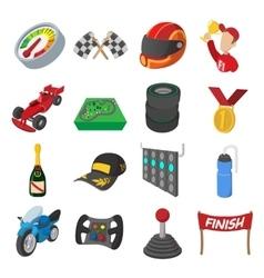Car racing cartoon icons set vector image