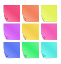 Color post its paper stickers for notes set vector image