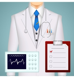 Doctor on medical background vector image