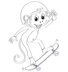 Doodle animal for monkey on skateboard vector