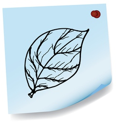 drawing of leaves on sticky paper vector image vector image