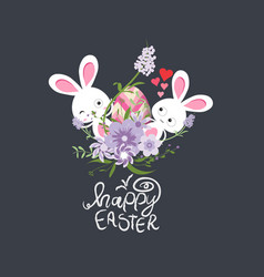 easter eggs and bunny spring with flower vector image