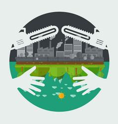 Eco friendly hands hug concept vector