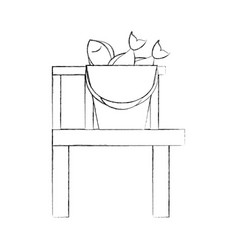 Fishing bucket with wooden pier vector