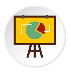 Flip chart with statistics icon circle vector