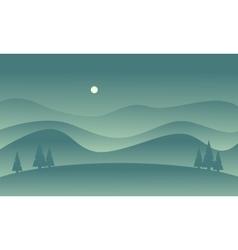 Hill scenery vetcor flat of silhouette vector