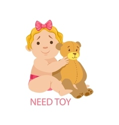 Little baby girl in nappy with teddy bear needing vector
