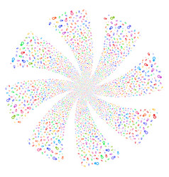 Mars symbol fireworks swirl rotation vector