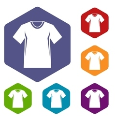 Men tennis t-shirt icons set vector image
