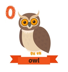 Owl O letter Cute children animal alphabet in vector image