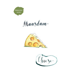 piece of maasdam - swiss cheese piece with holes vector image vector image
