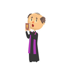 Priest character people with bible book catholic vector