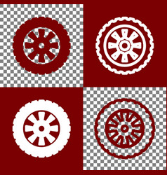 Road tire sign bordo and white icons and vector