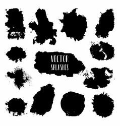 Set of black paint ink grunge dirty brush vector
