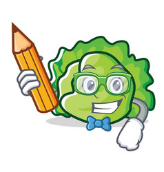 Student lettuce character cartoon style vector