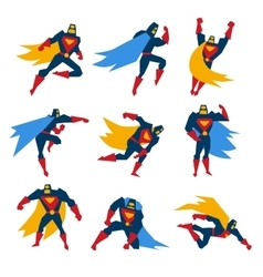 Superman Poses Set vector image vector image