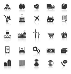 Supply chain icons with reflect on white vector