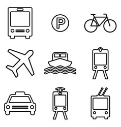 Transportation line icons set public transport vector