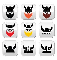 Viking warrior in helmet buttons set vector image