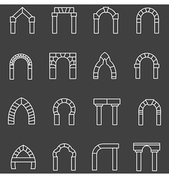 White flat line icons for archway vector image vector image