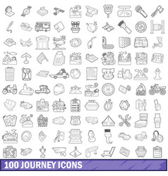100 journey icons set outline style vector