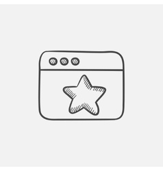 Browser window with star favorite sign sketch icon vector